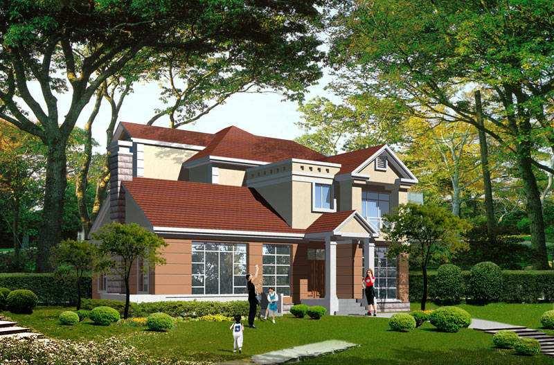 二层270平方美式轻钢别墅户型图